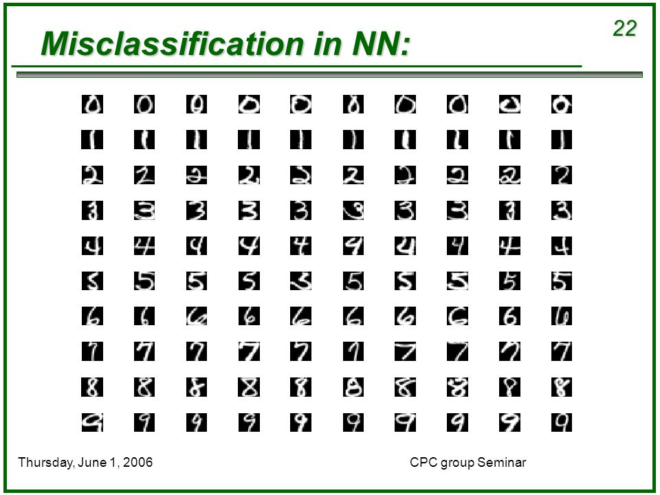 22 CPC group SeminarThursday, June 1, 2006 Misclassification in NN:
