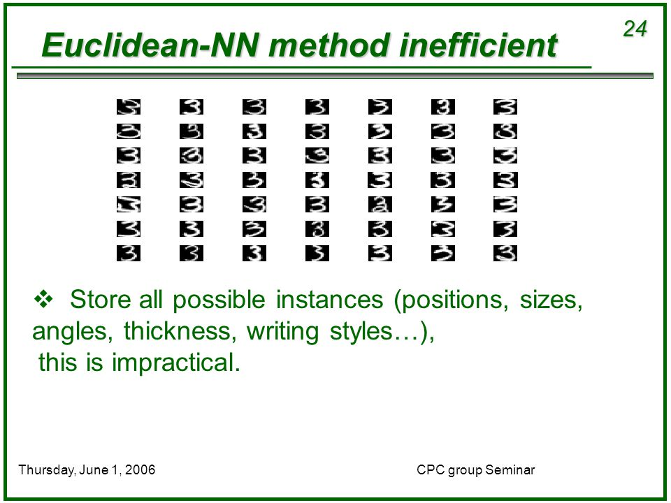 24 CPC group SeminarThursday, June 1, 2006 Euclidean-NN method inefficient  Store all possible instances (positions, sizes, angles, thickness, writing styles…), this is impractical.