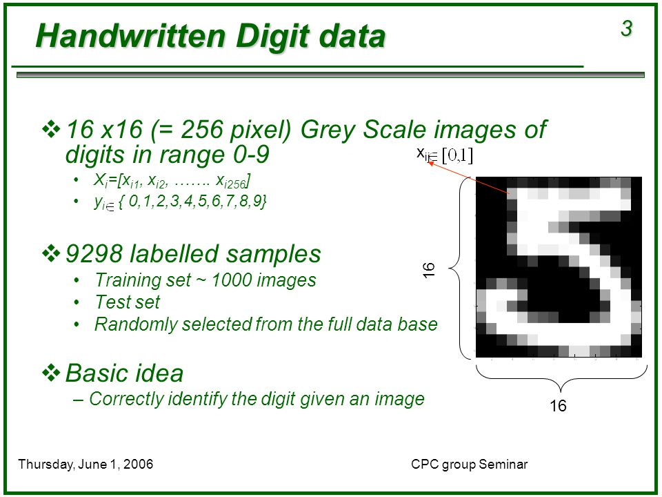 3 CPC group SeminarThursday, June 1, 2006  16 x16 (= 256 pixel) Grey Scale images of digits in range 0-9 X i =[x i1, x i2, …….