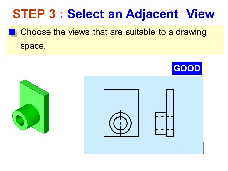 Choose the views that are suitable to a drawing space. STEP 3 : Select an Adjacent View GOOD