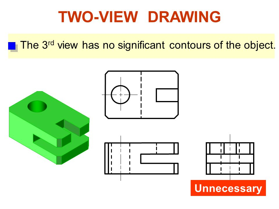 TWO-VIEW DRAWING Unnecessary The 3 rd view has no significant contours of the object.