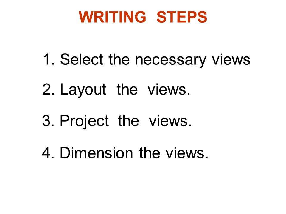 WRITING STEPS 1. Select the necessary views 2. Layout the views. 3. Project the views. 4. Dimension the views.