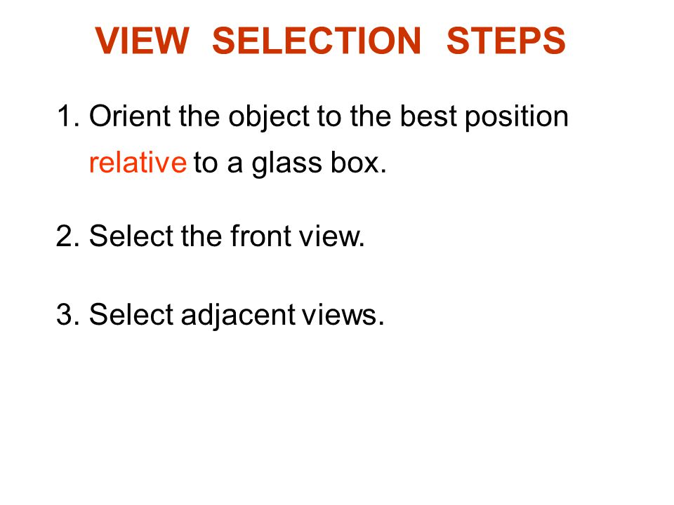 VIEW SELECTION STEPS 1. Orient the object to the best position relative to a glass box. 2. Select the front view. 3. Select adjacent views.