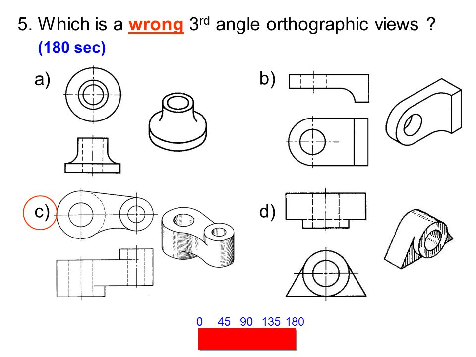 5. Which is a wrong 3 rd angle orthographic views ? (180 sec) 45901351800 a) b) c)d)