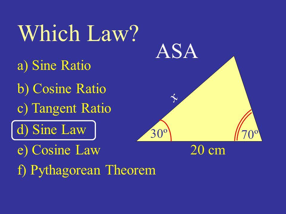 20 cm 30º 70º Which Law.