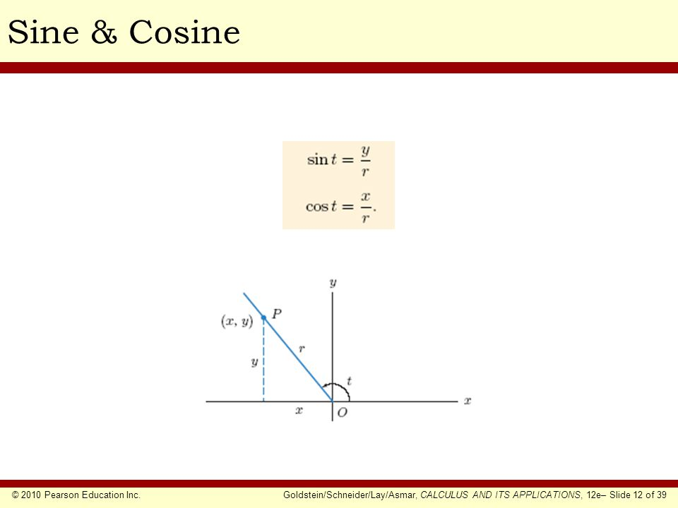 © 2010 Pearson Education Inc.Goldstein/Schneider/Lay/Asmar, CALCULUS AND ITS APPLICATIONS, 12e– Slide 12 of 39 Sine & Cosine