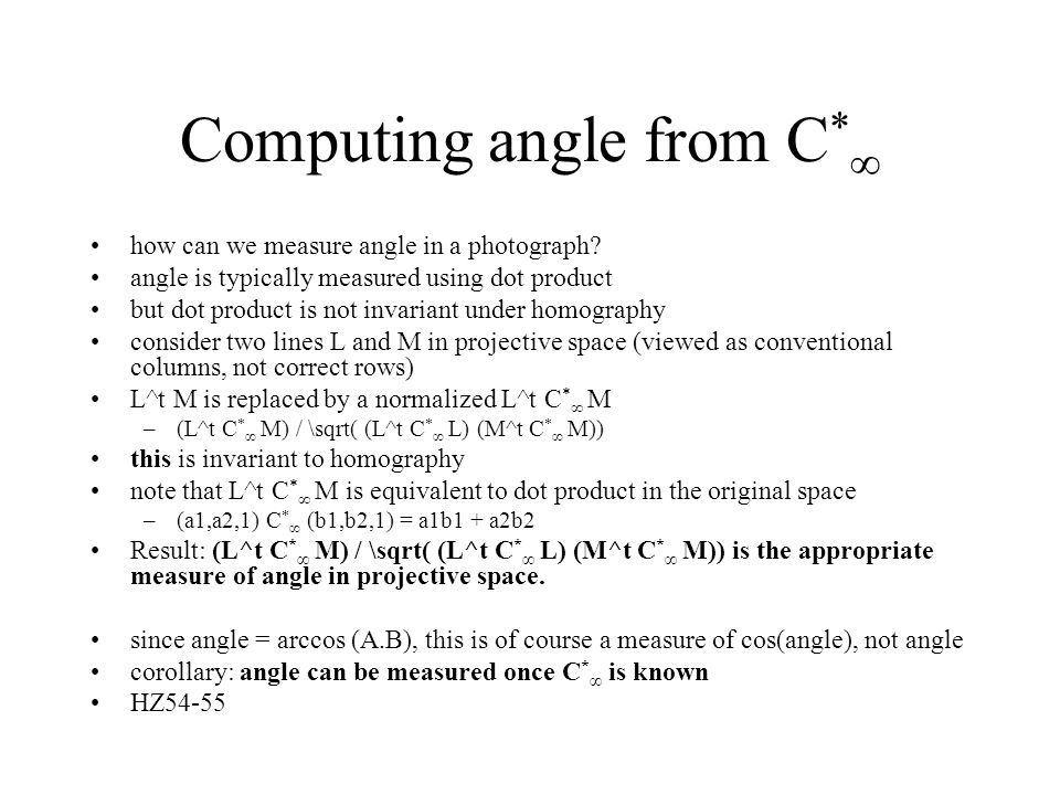 Computing angle from C * ∞ how can we measure angle in a photograph.