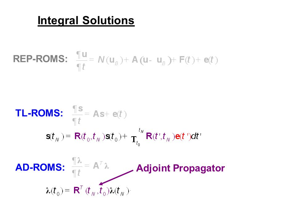 TL-ROMS: AD-ROMS: REP-ROMS: Integral Solutions Adjoint Propagator