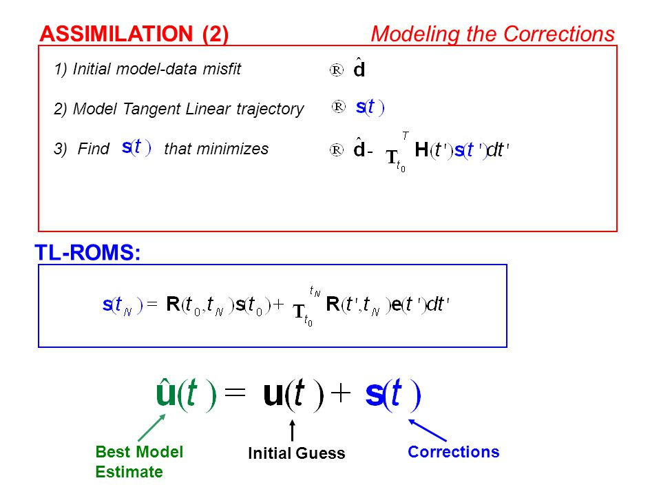 TL-ROMS: 1) Initial model-data misfit 2) Model Tangent Linear trajectory 3) Find that minimizes ASSIMILATION (2)Modeling the Corrections Best Model Es
