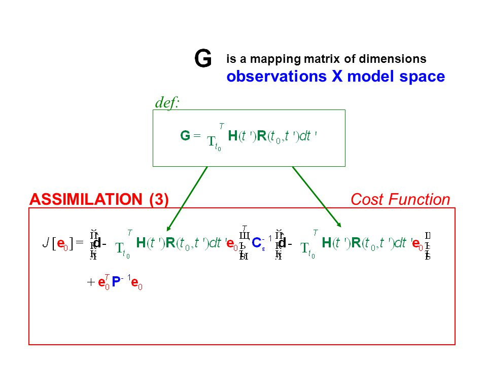 ASSIMILATION (3)Cost Function def: is a mapping matrix of dimensions observations X model space