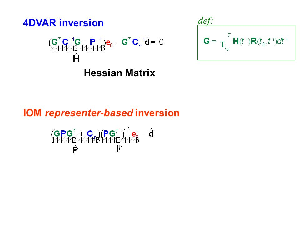 4DVAR inversion IOM representer-based inversion Hessian Matrix def: