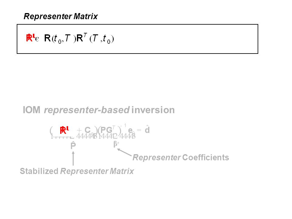 IOM representer-based inversion Stabilized Representer Matrix Representer Coefficients Representer Matrix