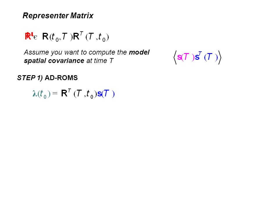 Representer Matrix Assume you want to compute the model spatial covariance at time T STEP 1) AD-ROMS