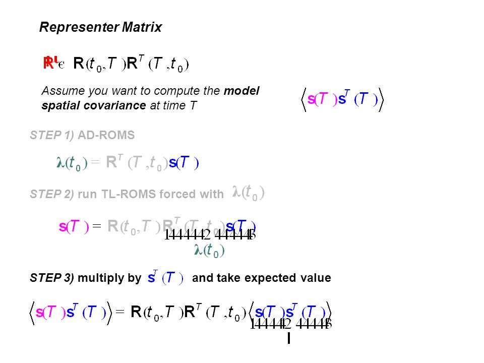 Representer Matrix Assume you want to compute the model spatial covariance at time T STEP 2) run TL-ROMS forced with STEP 3) multiply by and take expe