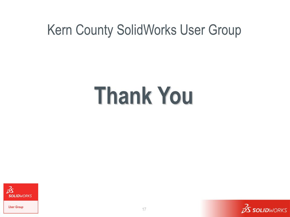 17 Kern County SolidWorks User Group Thank You