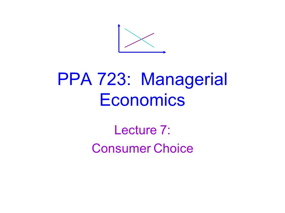 Managerial Economics, Lecture 7: Consumer Choice Optimal Bundle: Corner Solution  The optimal bundle is still at the point where highest indifference curve touches budget line.
