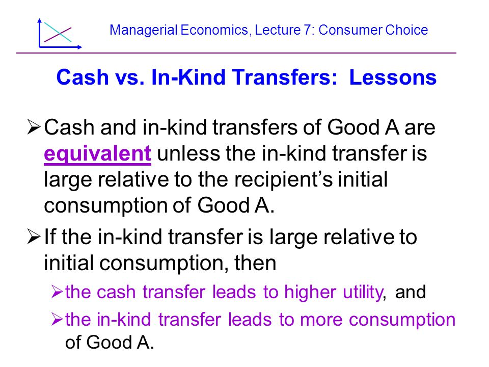 Managerial Economics, Lecture 7: Consumer Choice Cash vs. In-Kind Transfers: Lessons  Cash and in-kind transfers of Good A are equivalent unless the