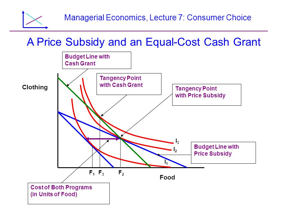 Managerial Economics, Lecture 7: Consumer Choice Food Clothing F1F1 F3F3 F2F2 Budget Line with Cash Grant Cost of Both Programs (in Units of Food) Tan