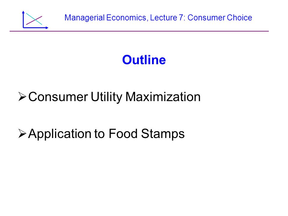 Managerial Economics, Lecture 7: Consumer Choice Outline  Consumer Utility Maximization  Application to Food Stamps