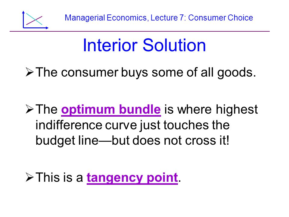 Managerial Economics, Lecture 7: Consumer Choice Food Stamps Versus Cash, Continued All other goods per month YY +100 Y + 0 Food per month Budget line with food stamps Budget line with cash Original budget line A B f d e Y C I 1 I 2 I 3 I 1* I 2* Household 1 Household 2 50150160