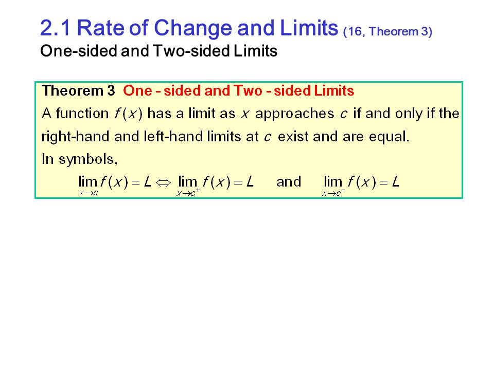 2.1 Rate of Change and Limits (16, Theorem 3) One-sided and Two-sided Limits