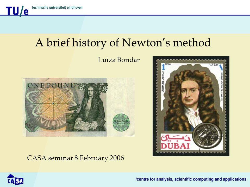 A brief history of Newton's method CASA seminar 8 February 2006 Luiza Bondar