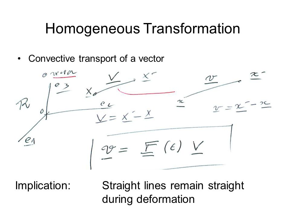Homogeneous Transformation Convective transport of a vector Implication: Straight lines remain straight during deformation