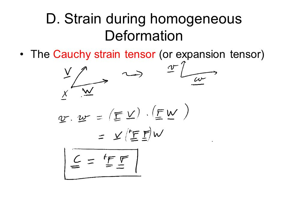 D. Strain during homogeneous Deformation The Cauchy strain tensor (or expansion tensor)