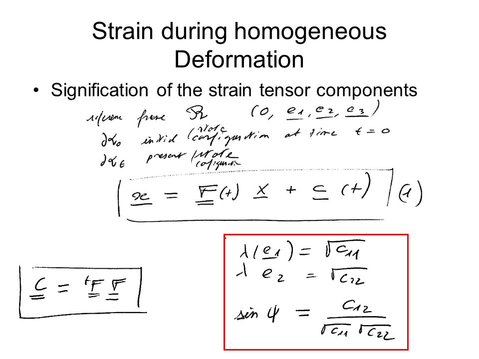 Strain during homogeneous Deformation Signification of the strain tensor components