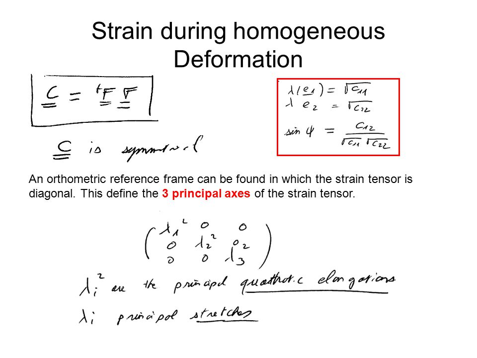 Strain during homogeneous Deformation An orthometric reference frame can be found in which the strain tensor is diagonal.