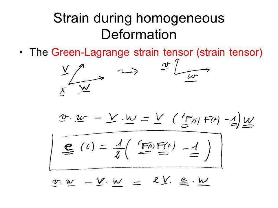 Strain during homogeneous Deformation The Green-Lagrange strain tensor (strain tensor)