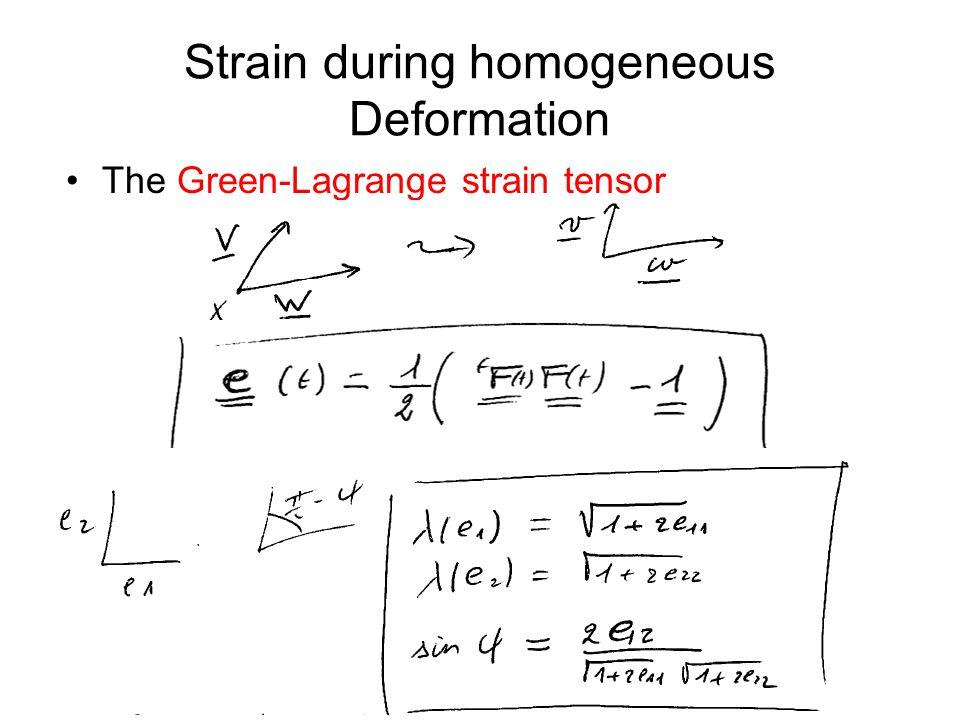 Strain during homogeneous Deformation The Green-Lagrange strain tensor