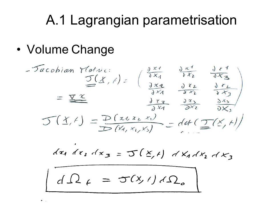Volume Change A.1 Lagrangian parametrisation