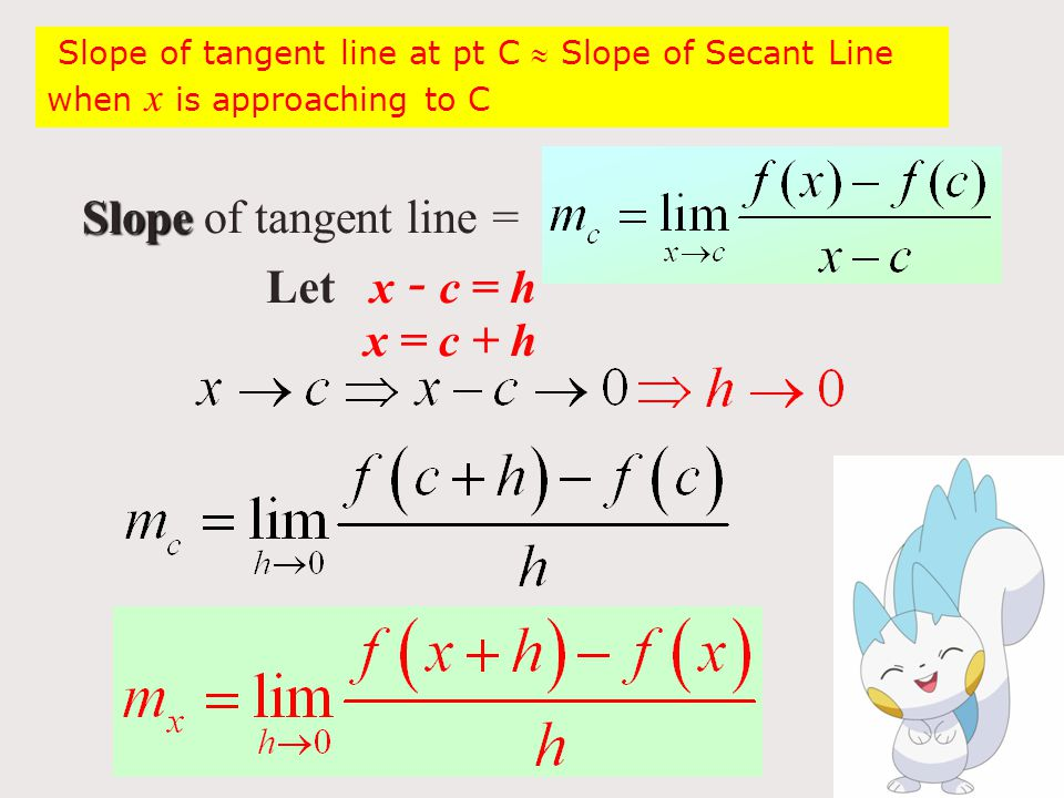 Slope Slope of tangent line = Let x - c = h x = c + h Slope of tangent line at pt C  Slope of Secant Line when x is approaching to C