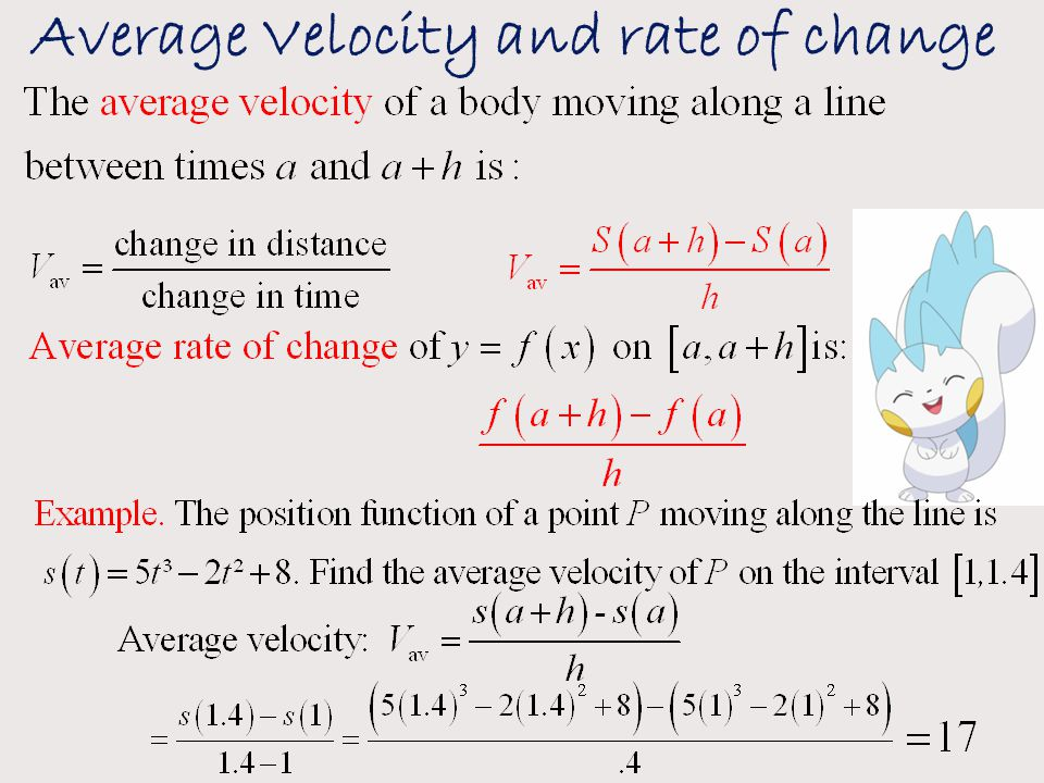 Average Velocity and rate of change