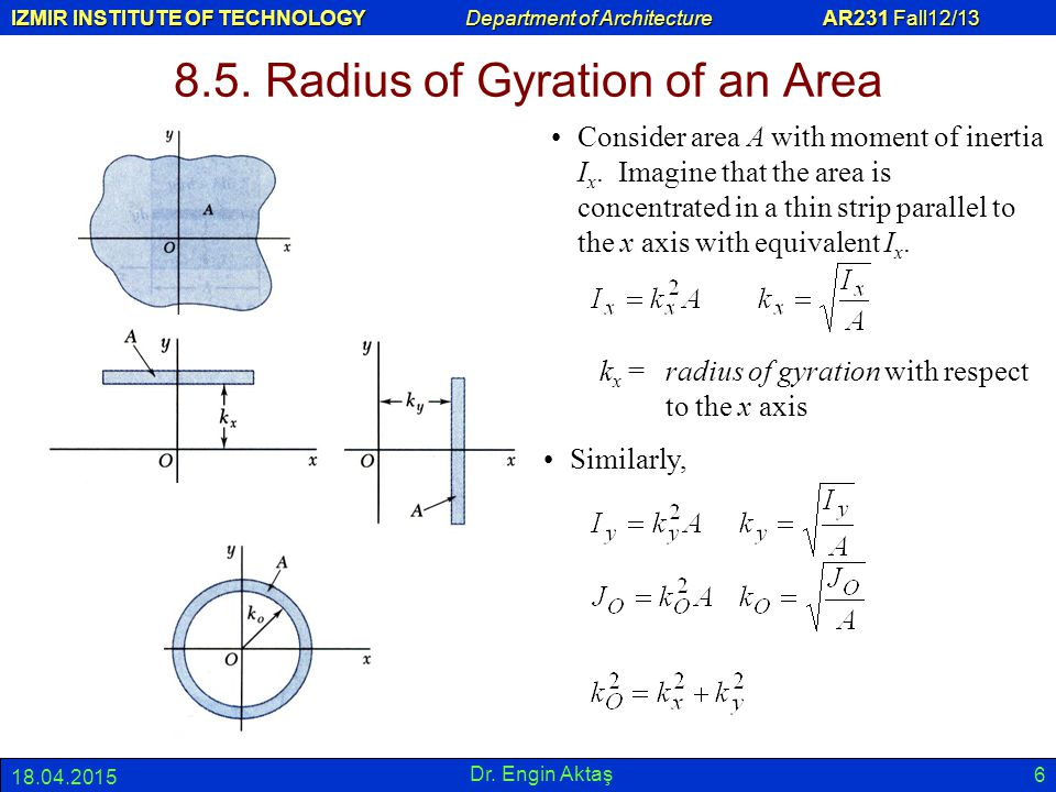 IZMIR INSTITUTE OF TECHNOLOGY Department of Architecture AR231 Fall12/13 18.04.2015 Dr. Engin Aktaş 6 8.5. Radius of Gyration of an Area Consider area
