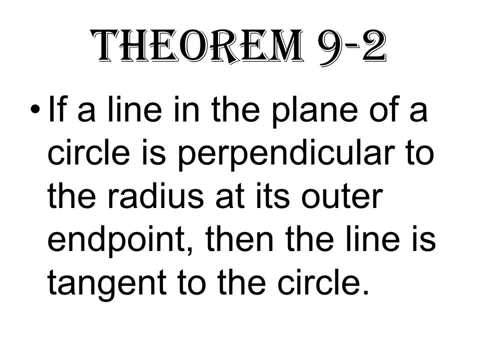 Theorem 9-2 If a line in the plane of a circle is perpendicular to the radius at its outer endpoint, then the line is tangent to the circle.