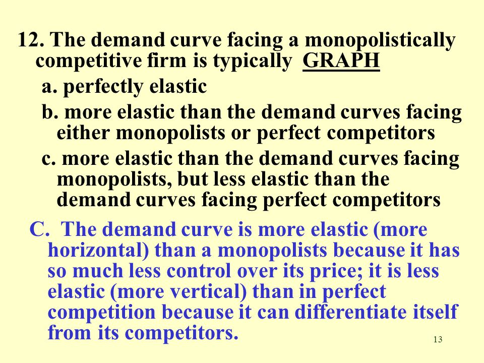 13 12. The demand curve facing a monopolistically competitive firm is typically GRAPHGRAPH a. perfectly elastic b. more elastic than the demand curves