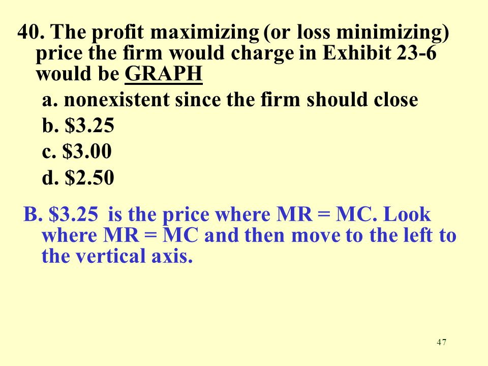 47 40. The profit maximizing (or loss minimizing) price the firm would charge in Exhibit 23-6 would be GRAPHGRAPH a. nonexistent since the firm should