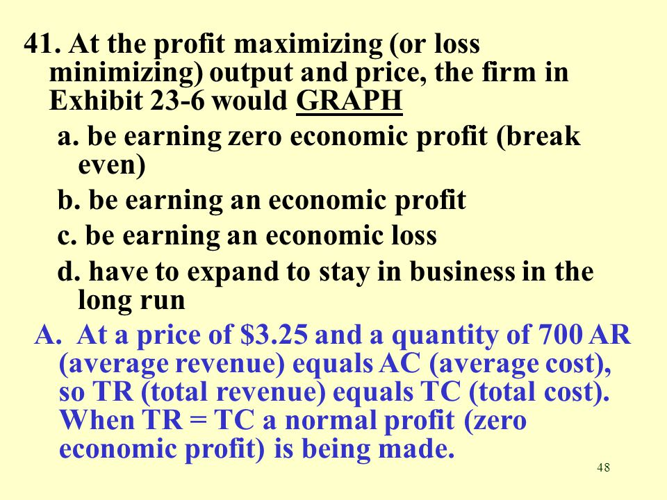 48 41. At the profit maximizing (or loss minimizing) output and price, the firm in Exhibit 23-6 would GRAPHGRAPH a. be earning zero economic profit (b