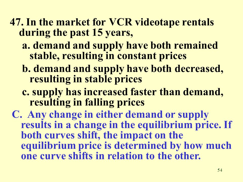 54 47. In the market for VCR videotape rentals during the past 15 years, a. demand and supply have both remained stable, resulting in constant prices