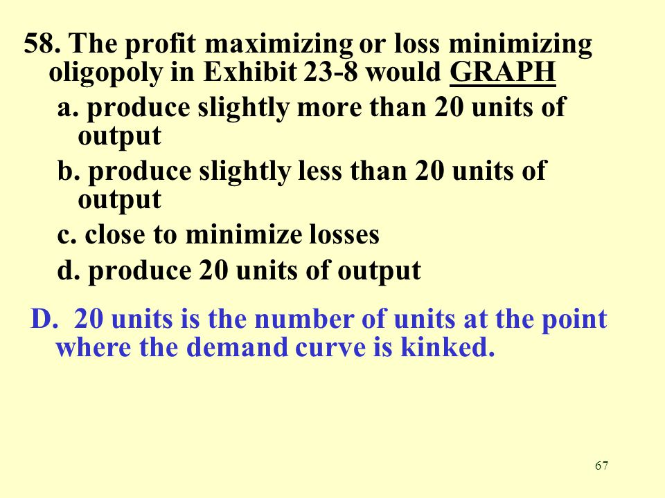 67 58. The profit maximizing or loss minimizing oligopoly in Exhibit 23-8 would GRAPHGRAPH a. produce slightly more than 20 units of output b. produce