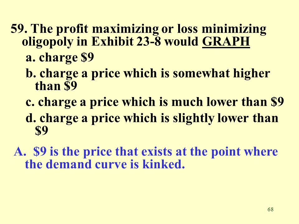 68 59. The profit maximizing or loss minimizing oligopoly in Exhibit 23-8 would GRAPHGRAPH a. charge $9 b. charge a price which is somewhat higher tha