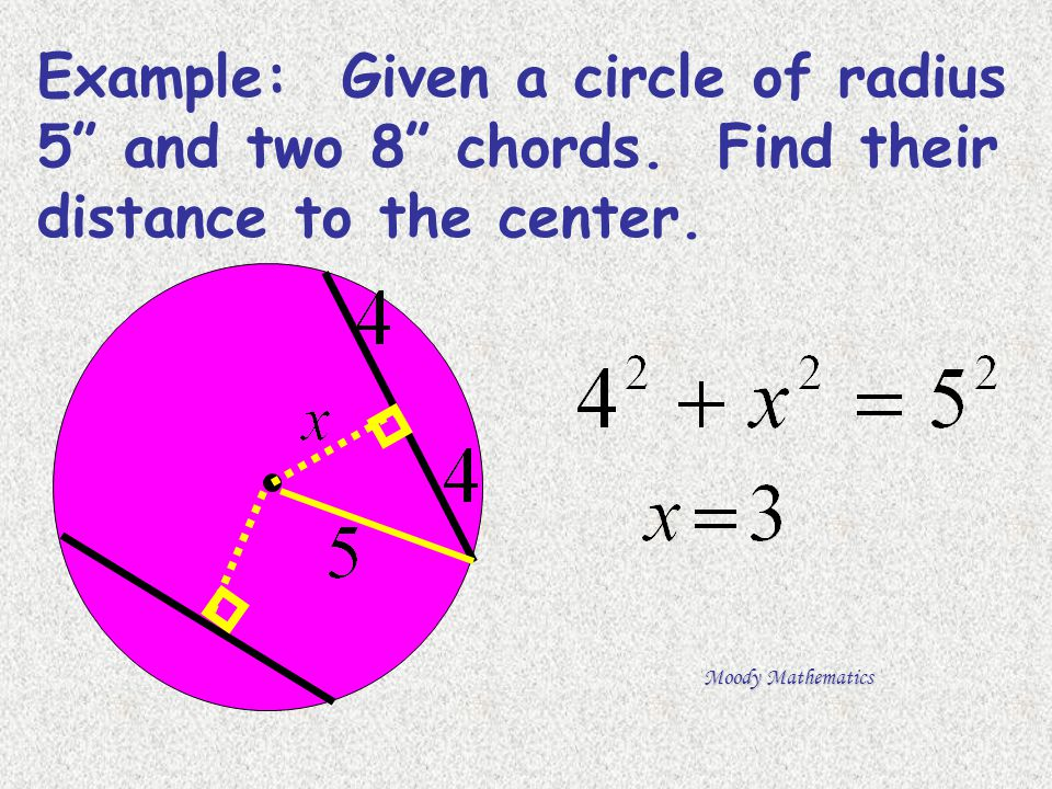 """Example: Given a circle of radius 5"""" and two 8"""" chords. Find their distance to the center."""