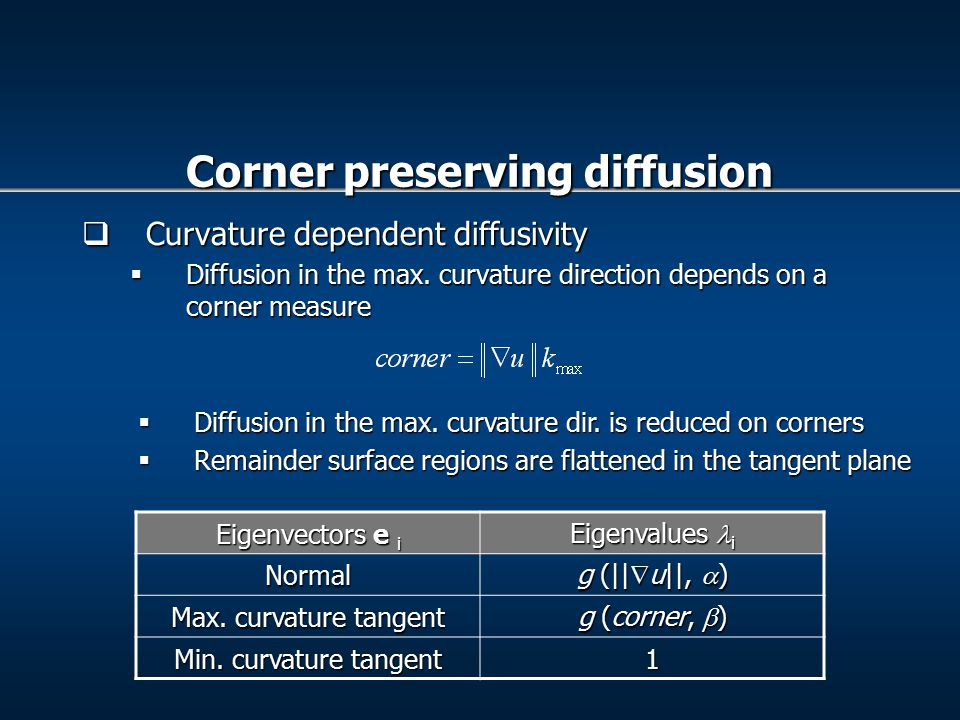  Curvature dependent diffusivity  Diffusion in the max.