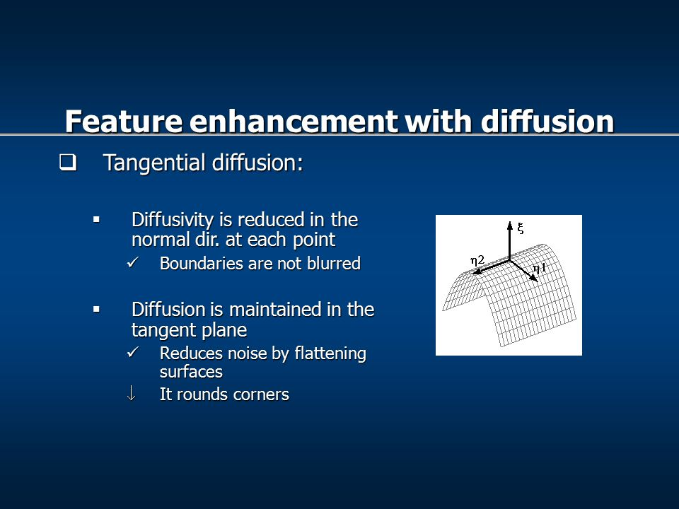  Tangential diffusion:  Diffusivity is reduced in the normal dir.