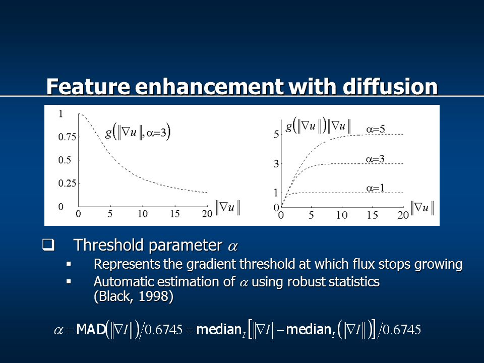 Threshold parameter   Represents the gradient threshold at which flux stops growing  Automatic estimation of  using robust statistics (Black, 1998) Feature enhancement with diffusion