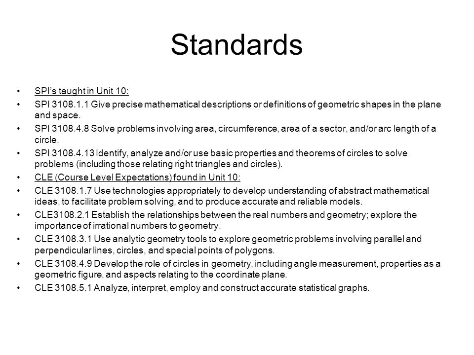 Standards CFU (Checks for Understanding) applied to Unit 10: 3108.1.5 Use technology, hands-on activities, and manipulatives to develop the language and the concepts of geometry, including specialized vocabulary (e.g.