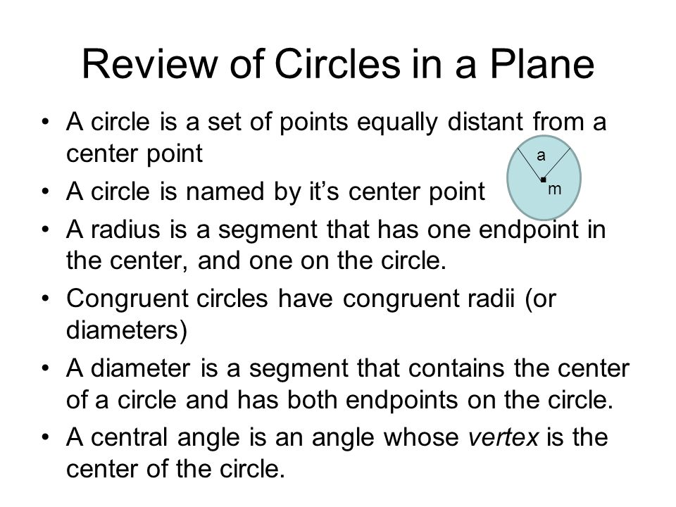 Circles in the Coordinate Plane You can use the Distance Formula to find an equation of a circle with center point (h,k) and radius r.