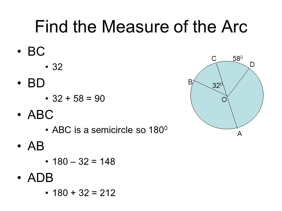 Circumference and Arc Length Remember, circumference of a circle is π x the diameter Theorem: The length of an arc of a circle is calculated like this: (measure of the arc) X π x D 360 This is the same as saying the fraction of the whole i.e.